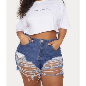 New Prettylittlething distressed denim jean shorts